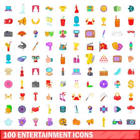 100 entertainment icons set, cartoon style Illustration