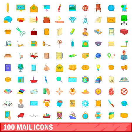 100 mail icons set, cartoon style Stock fotó