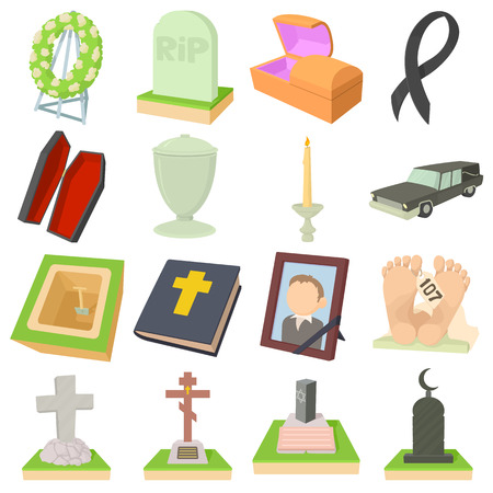 Funeral icons set, cartoon style Illustration