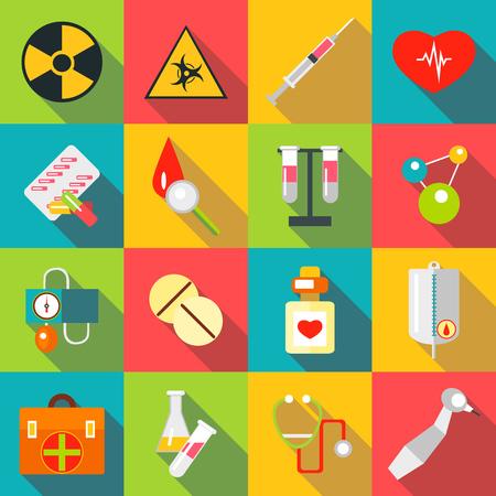Medical items icons set, flat style