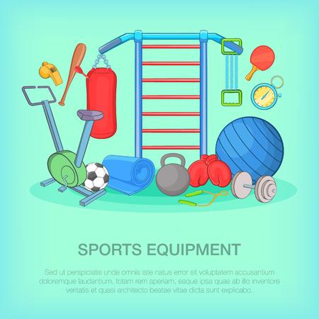 Gym equipment concept, cartoon style Illustration