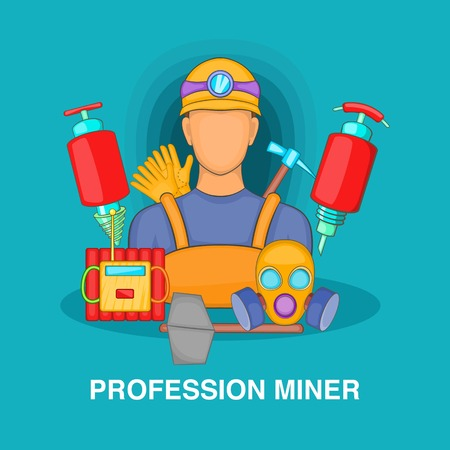 Professional miner concept, cartoon style