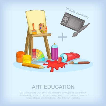 Art education tools concept, cartoon style