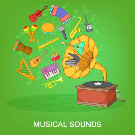 Musical instruments green concept, cartoon style
