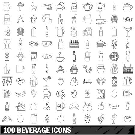 100 iconos de bebidas conjunto, estilo de contorno