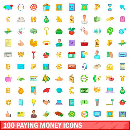 100 paying money icons set, cartoon style