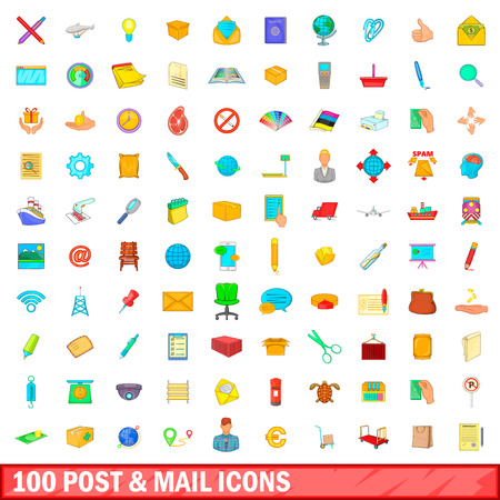 100 post and mail icons set, cartoon style Illustration