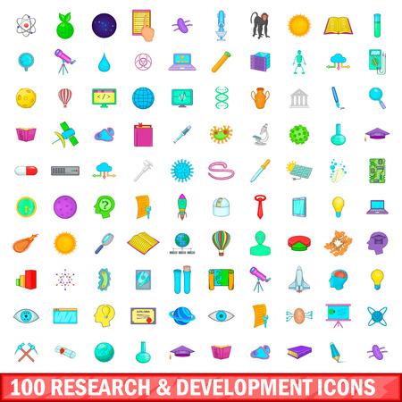 chemic: 100 development icons set, cartoon style Illustration
