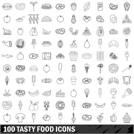100 set di icone alimentari gustose, stile di contorno