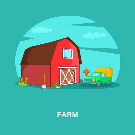 Farm concept, cartoon style Illustration