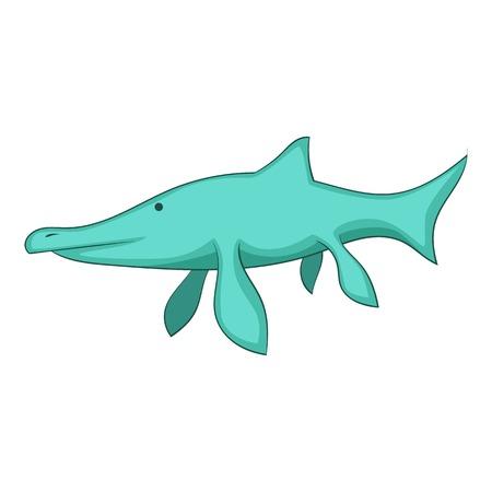 Ichthyosaur icon, cartoon style Illustration