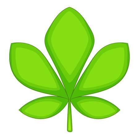 Five lobes green leaf icon, cartoon style Illustration