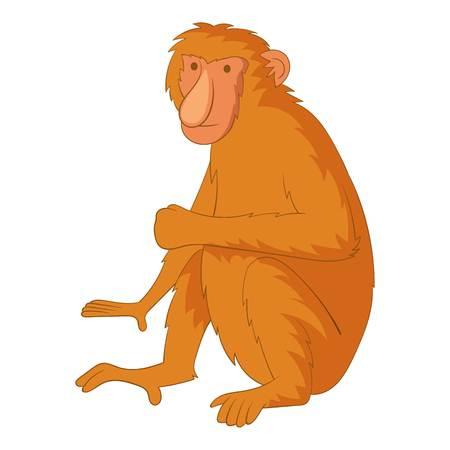 genus: Proboscis monkey icon, cartoon style Illustration