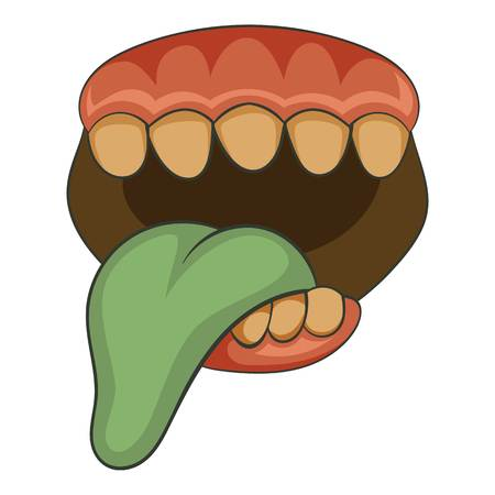 Open zombie mouth with tongue icon, cartoon style