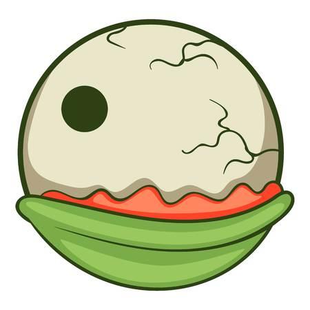 Creepy eyeball icon, cartoon style Illustration