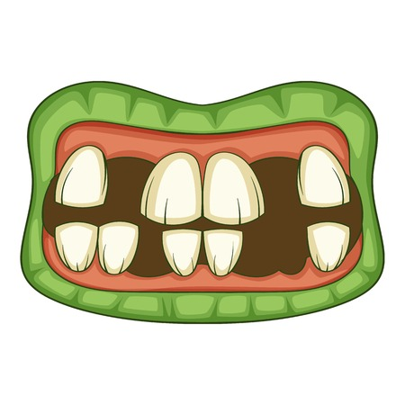 Zombie teeth icon, cartoon style Illustration