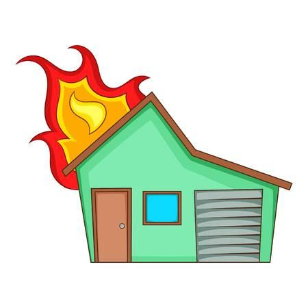 House on fire icon, cartoon style Stock Photo
