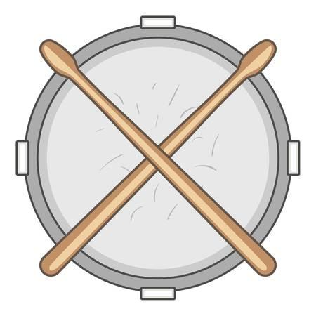 rhythm rhythmic: Drum and drumsticks icon, cartoon style
