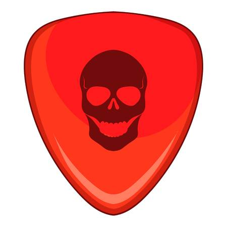 Red guitar pick with a skul icon, cartoon style