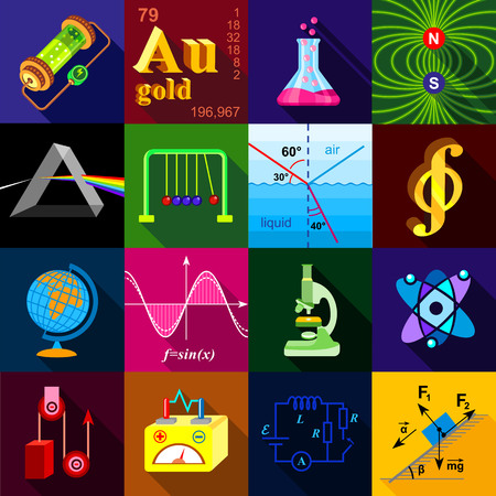 Science research icons set, flat style Stock Photo