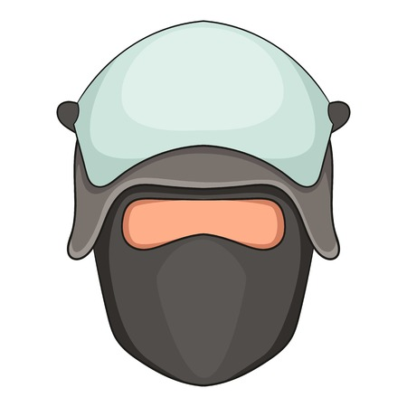Policeman head in a face mask icon, cartoon style