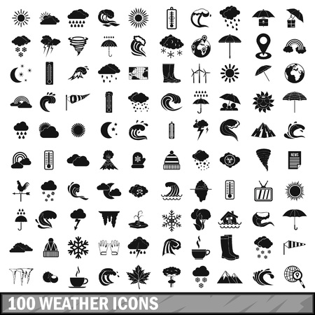 weathervane: 100 weather icons set in simple style
