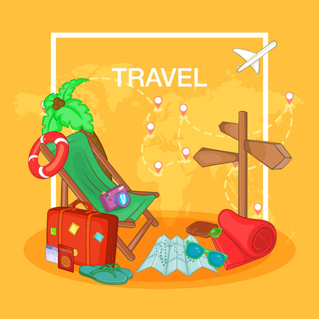 Travel concept route, cartoon style