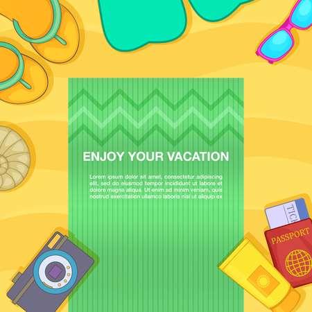 Travel concept beach, cartoon style