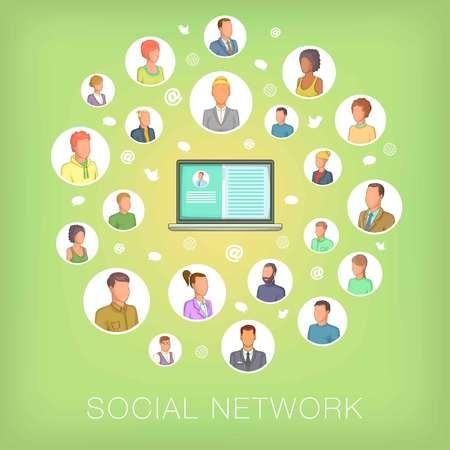 Taccuino di concetto della rete sociale, stile del fumetto