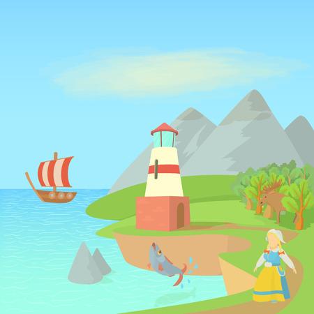 Sweden travel concept symbols, cartoon style