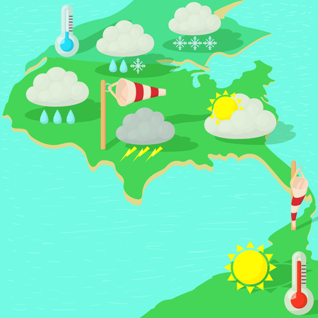 Weather symbols concept map, cartoon style