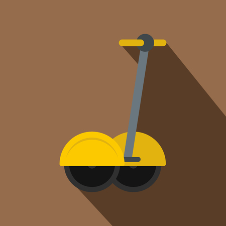 a two wheeled vehicle: Yellow two wheeled battery powered electric vehicle icon. Flat illustration of yellow two wheeled battery powered electric vehicle vector icon for web isolated on coffee background