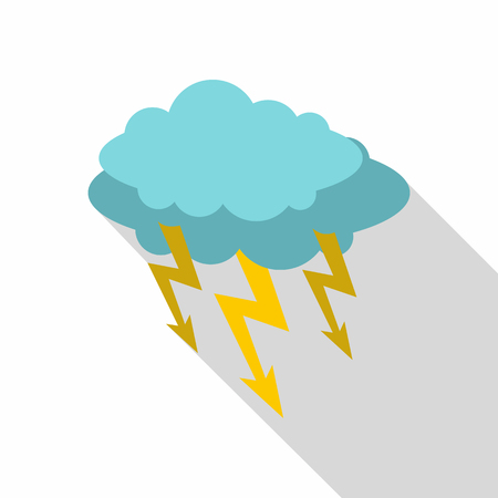 Storm cloud lightning bolt icon. Flat illustration of storm cloud lightning bolt vector icon for web isolated on white background Illustration