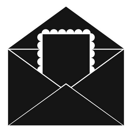 Envelope with card icon. Simple illustration of envelope with card vector icon for web Illustration