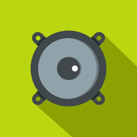 Frontal audio speaker icon. Flat illustration of frontal audio speaker vector icon for web isolated on lime background Illustration