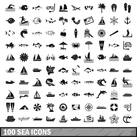shrimp cocktail: 100 sea icons set in simple style