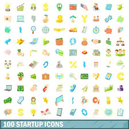 moneymaker: 100 startup icons set in cartoon style for any design vector illustration