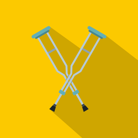 accidental: Crutches icon, flat style