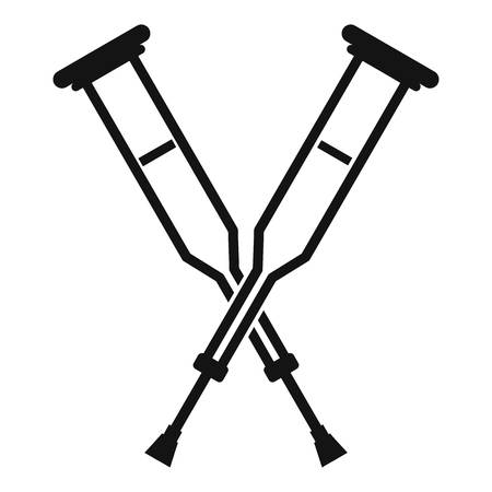 Crutches icon, simple style Çizim