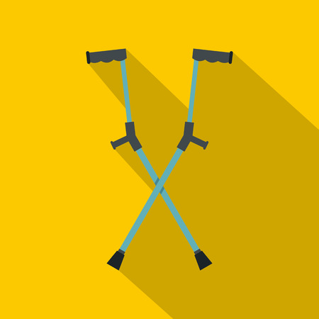 accidental: Other crutches icon, flat style Illustration