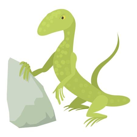 Standing lizard icon, cartoon style Illustration