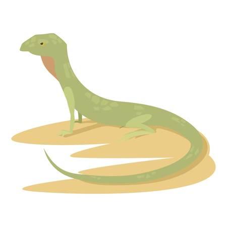 Curious lizard icon, cartoon style