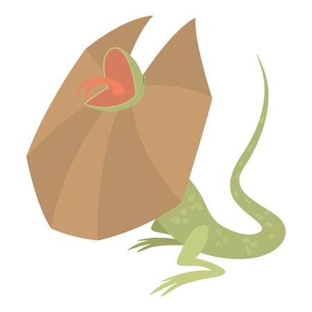 a frill: Frill necked lizard icon, cartoon style