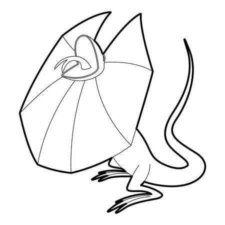 a frill: Frill necked lizard icon, outline style Illustration