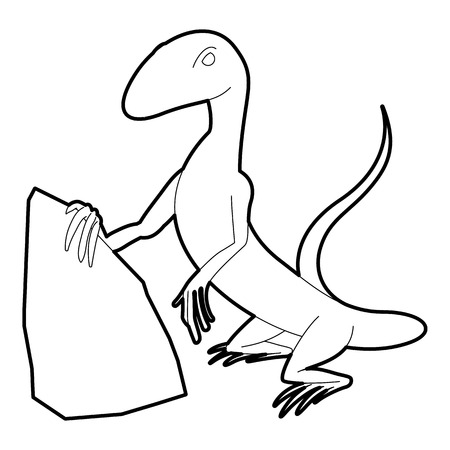 Standing lizard icon, outline style