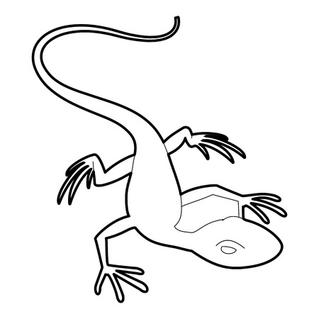 Little lizard icon, outline style
