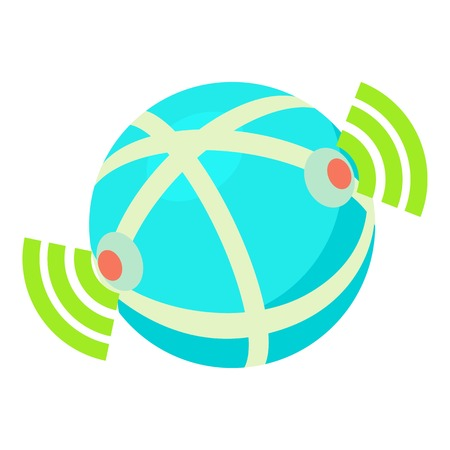 Globe database icon, cartoon style