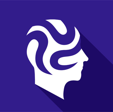 Depressive brain icon, flat style Illustration