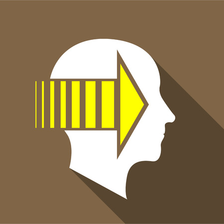 meditative: Thinking brain icon, flat style