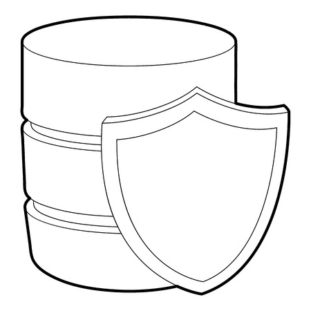 hard drive: Safe database icon, outline style